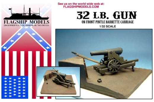 32lb Gun on Front Pintle Carriage (Flagship, 1:32)