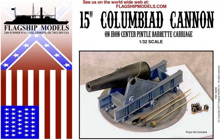 """15"""" Columbiad on Iron Pintle Barbette Carriage (Flagship 1:32)"""