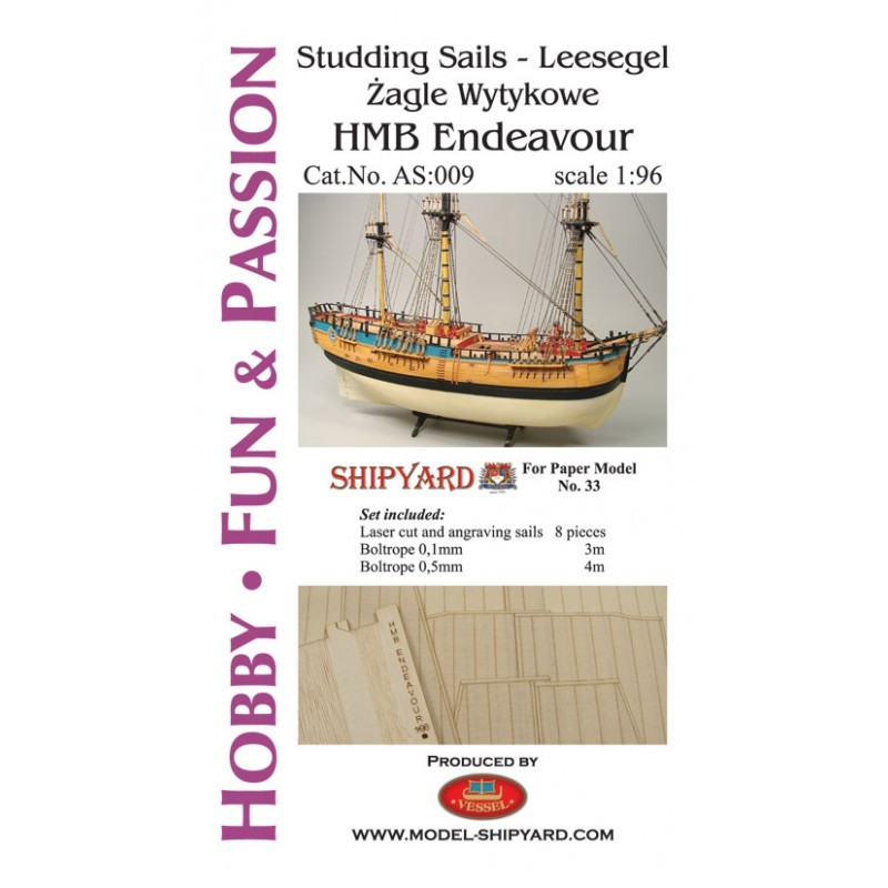 HM Bark Endeavour - Studding Sails (Shipyard 1:96)