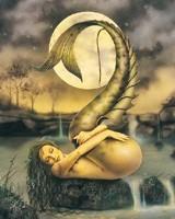Bathing In Moonlight by David Delamare