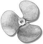 3 Bladed Bronze Propeller, Left Hand (40mm, AM4828/40)
