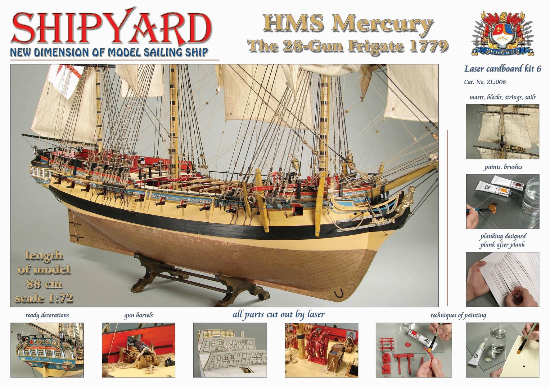 HMS Mercury Laser Cardboard Kit (Shipyard 1:72)