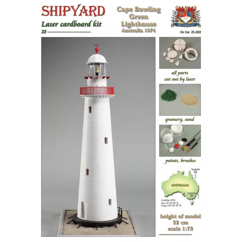 Cape Bowling Green Lighthouse Laser Cardboard Kit (Shipyard 1:72)