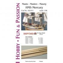 HMS Mercury Masts and Yards Accessories (Shipyard 1:96)